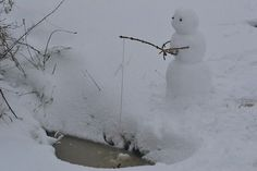 Fishing | Community Post: 40 Creative Snowmen and Other Snow Sculptures