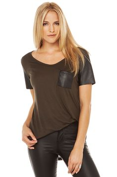 PU Pocket Tee | Olive Green Top | Shirts and Blouses