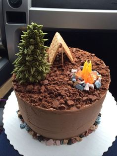 Creative Photo of Camping Birthday Cake . Camping Birthday Cake Camping Cake Cakes Ive Made In 2 Fancy Cakes, Cute Cakes, Pretty Cakes, Beautiful Cakes, Camping Birthday Cake, Camping Cakes, Fun Birthday Cakes, Husband Birthday Cake, Chocolate Birthday Cake Decoration