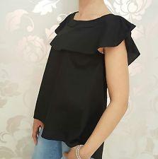 Camicia donna Camicetta Blusa nera Cotone Volant Fiocco Schiena Made In Italy