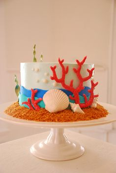 "Underwater Theme Coconut 6"" Cake, via Flickr."