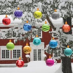 Christmas Yard Decorations - Traditional Hanging Christmas Ornaments (Globes Shape) - Christmas Ball Ornaments
