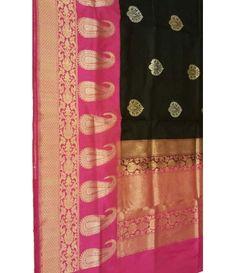 Black and Pink Banarasi Handloom Silk Saree