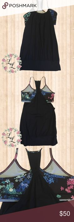 🍋 Lululemon Petal Pop Freely Tank EUC black tank with floral built in bra (doesn't include pads) lululemon athletica Tops Tank Tops