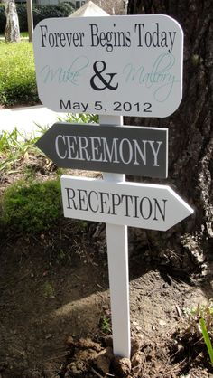 Wedding Direction Sign -- Wedding Signage -- Custom Wood Directional Sign with Arrows. $59.95, via Etsy.