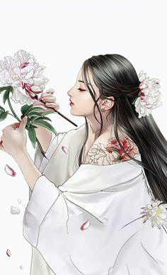 Credit to the Artist Anime Art Girl, Manga Girl, Geisha Art, Painting Of Girl, China Art, Traditional Fashion, Japan Art, Beauty Art, Asian Beauty