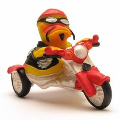 Motorcyle Rubber Duck by Lanco Natural Toy & Organic Duck Memes, Quack Quack, Rocker, Natural Toys, Rubber Duck, Ducks, Biodegradable Products, Activities, Duck Duck