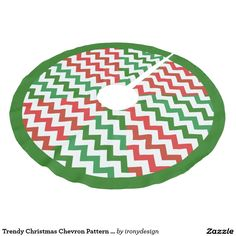 Trendy Christmas Chevron Pattern Triangles Green Brushed Polyester Tree Skirt