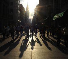 Urban Photography Idea: Shadows in the City - pedestrian shadows in Mexico City at twilight