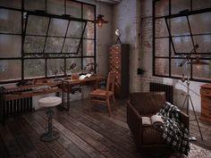 decoration d interieur, aménagement studio loft aux fenêtres noires et plancher en bois foncé, fauteuil en cuir marron avec plaid blanc et noir
