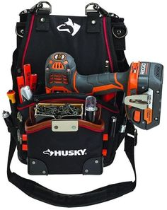 Husky 2-Pocket Drill Driver Tool Pouch Storage Bag With Leather Lined Pockets #Husky