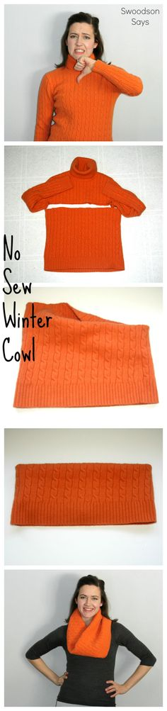 Easy wool sweater upcycle idea! Just cut and wear - no sewing required. Such a fun refashion tutorial, perfect for a craft night or to make with teenagers.What better way to get a cozy cowl for practically free! Click through to see a second example and m