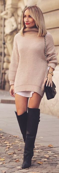 Blush Oversize Knit Turtleneck Dress by Rock & Roses