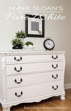 I painted this old buffet with AS Chalk Painted | French Buffet painted in Pure White by Denise at Salvaged Inspirations