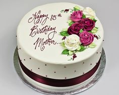 Floral Cake 70th Birthday For Women Simple Mother