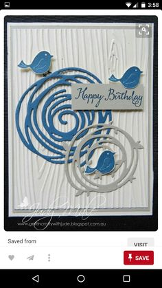 "Link does not work - but love the handmade birthday card with ""Swirly Bird"" die cuts as nests on embossing folder ""Woodgrain"" with a trio of birds roosting. Birthday Cards For Men, Handmade Birthday Cards, Greeting Cards Handmade, Su Swirly Scribbles, Tarjetas Stampin Up, Embossed Cards, Stamping Up Cards, Bird Cards, Cool Cards"