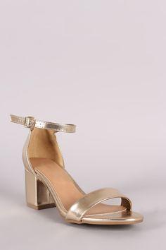 23060d70ed9 Bamboo Metallic Ankle Strap Open Toe Block Heel Block Heels
