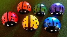 Cement Ladybugs.....This is a cute idea for a craft project with your kids.   Cut a tennis ball in half, fill with cement, and pop out when dry.  Paint then seal with outdoor sealer.  Fun!