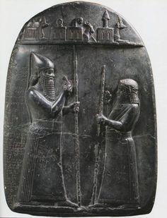 Marduk-apla-iddina II (left) as king of Babylon in 715 BC, as depicted on a monument commemorating a royal land grant (kudurru). Vorderasiatisches Museum Berlin, VA 2663. Reproduced from L. Jakob-Rost et al., Das Vorderasiatische Museum, Mainz 1992, 109.