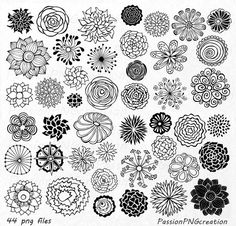BIG SET 44 Hand Drawn Flowers clipart flower by PassionPNGcreation                                                                                                                                                                                 More