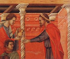 Pilate Washing his Hands (detail) 1308-11 Duccio di Buon