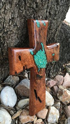 Mesquite wood cross with turquoise inlay