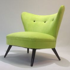 Mid Century Hollywood Regency Gilbert Rohde Attr. Wing-Back Chair In Chartreuse. $2,000.00, via Etsy.