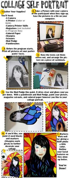 Collage Self Portrait Instructions: A program for teens, or any age, really. Revised Instructions from Rachel Moani