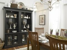 wood table with black hutch
