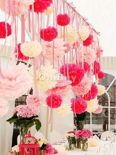 Fleur Pompon Papier De Soie Suspension soie Décoration Mariage Fête Baptême-10CM