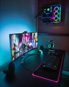 Computer Gaming Room, Best Gaming Setup, Computer Desk Setup, Gamer Setup, Gaming Room Setup, Pc Setup, Computer Technology, Gaming Pcs, Cool Gaming Setups