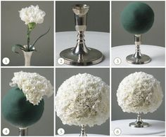 Centerpieces...carnations are as cheap as they come! Create an amazing wedding centerpiece with floral styrofoam, glued to a dollar store candle stick and carnations. -pinned by wedding specialists http://dazzlemeelegant.com