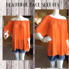 Orange boho top Orange boho top. Gorgeous lace accent on the sleeves. 95% polyester 5% spandex. Made in the USA Tops Blouses