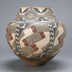 #Acoma Polychrome #Pottery #Jar with Scalloped Rim, Early 20th Century, Sold for $11,700 #michaans http://www.michaans.com/events/2009/auct_07052009.php