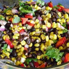 Mexico Salat mit schwarzen Bohnen und Mais( geht auch mit rote oder Kidney Bohnen)