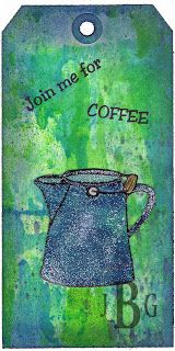 """Texana Designs tag sample by DTM Janet Bradshaw using our Texana Designs Jam'n Coffee Pot, """"Join me for"""" and """"COFFEE"""" stamps.  (Creative Chemistry 102 Classes)"""