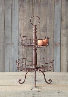 French Country Two Tiered Wire Basket ~~~What do I have that will DIY this??