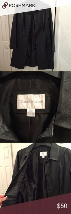 Worthington women's black leather coat Worthington women's black genuine leather coat. Perfect for a cold climate. My sister gave this to me but it's never cold enough to wear in my city. 34 inches from top button to bottom of coat. Worthington Jackets & Coats