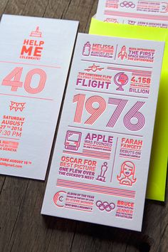 Carton d'invitation anniversaire 40 ans - les évènements de l'année 1976 au style disco avec couleur fluo orange rouge 805U / 40th birthday invitation card with design that celebrates important events of 1976 - design Cocorico Letterpress