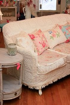 Vintage Chic Furniture ... Chenille Bedspread Couch Slipcover