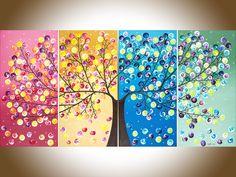 """Paisaje de acrílico pintura abstracta colorida pintura cuatro estaciones árbol lienzo arte """"365 días de felicidad"""" de qiqigallery de QiQiGallery en Etsy https://www.etsy.com/mx/listing/158024267/paisaje-de-acrilico-pintura-abstracta"""