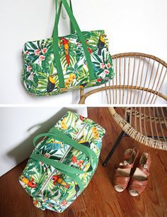 """Tut bag weekend easy to achieve! – Sewing pattern in the book """"My pretty bags but not only …"""" (Hélène Mora at Editions de Saxe) Coin Couture, Baby Couture, Couture Sewing, Sac Week End, Diy Sac, Sacs Diy, Patchwork Bags, Fabric Bags, Sewing Accessories"""