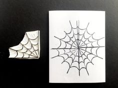 Corner spider web stamp, spider web carved stamp, web hand carved stamp, spider stamp, spider web stamp