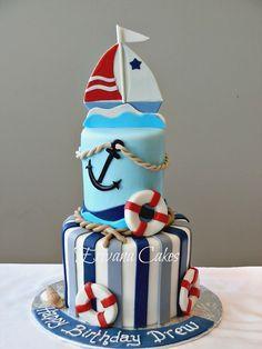 Pin Sailboat Nautical Cake Ideas and Designs Sailboat Cake, Nautical Cake, Nautical Party, Fancy Cakes, Cute Cakes, Sea Cakes, Pink Cakes, Bolo Cake, Fondant Cakes