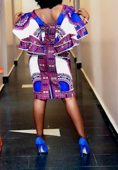 Made from a beautiful blue dashiki african fabric, this dress measures 61. With plunge neckline and side pockets, this is one dress you do not want to miss. Other color options available. If you would rather provide a custom size, please select custom in size option and please leave
