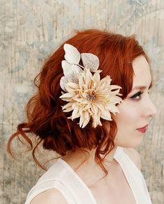 sparkle and fade blush cream floral clip by gardensofwhimsy Wavy Wedding Hair, Wedding Hair And Makeup, Bridal Hair, Hair Makeup, Boho Wedding, Wedding Ideas, Best Wedding Hairstyles, Pretty Hairstyles, Rock Star Hair