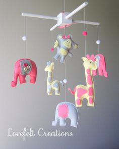 Baby mobile Baby crib Mobile Elephant Mobile by lovefeltmobiles