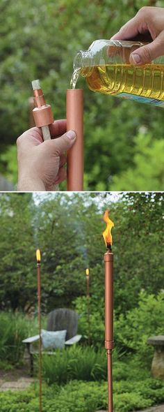 DIY Tiki Torches Light Your Garden DIY Tiki Torches Lots of Ideas and Tutorials! Including from 'my home my style' these sleek modern looking Copper Patio Torches. The post DIY Tiki Torches Light Your Garden appeared first on Outdoor Diy. Backyard Projects, Outdoor Projects, Garden Projects, Diy Projects, Garden Tips, Lighting Your Garden, Outdoor Lighting, Outdoor Decor, Backyard Lighting