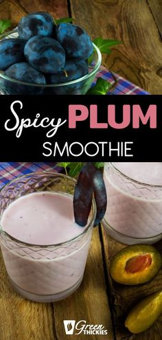 This sweet and spicy plum smoothie will warm you up on a cold day as it has a lovely kick to it. It also has hidden greens for even more nutrition. Mango Smoothie Recipes, Coconut Drinks, Smoothie Challenge, Amazing Greens, Go Pink, Weight Loss Smoothies