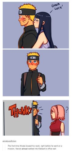 """<3 Hinata & Naruto - """"The first time Hinata kissed his neck, right before he went on a mission, Naruto almost walked into Kakashi's office wall."""""""